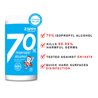 ZAPPY ALCOHOL WIPES 70 Sheets (Canister)